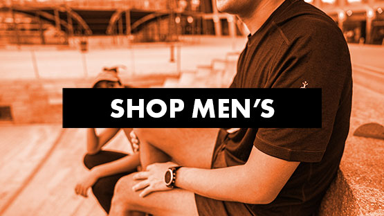 Image of a men's shoulder up close with a red overlay and text that reads Shop Men's.
