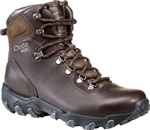 Product photo of a Oboz Yellowstone leather hiking boot on a white background.
