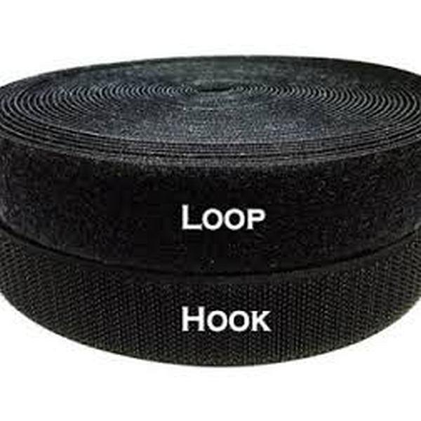 1 in Black Loop Velcro