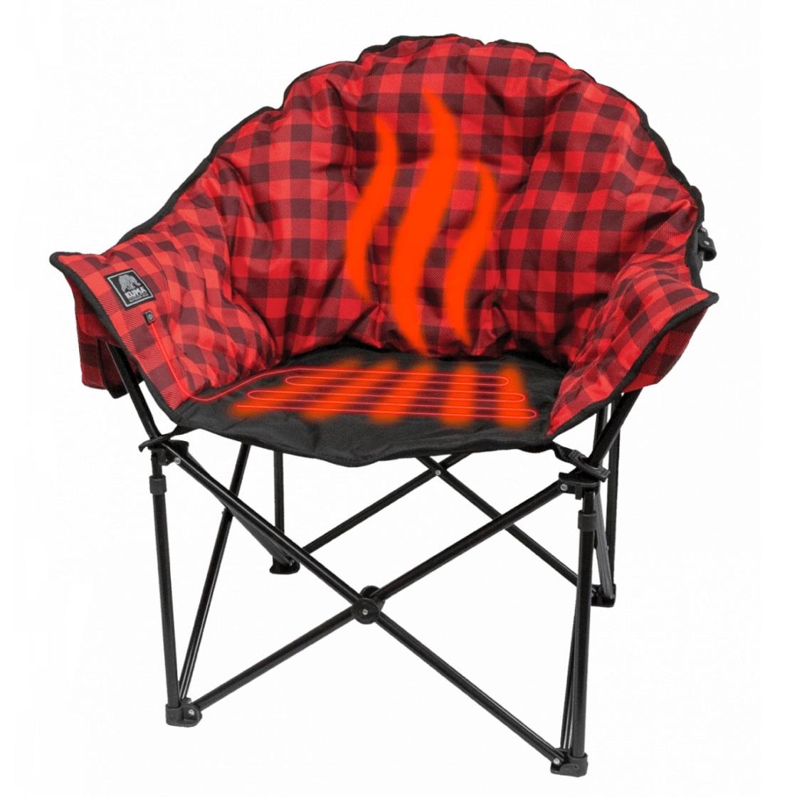 Lazy Bear Heated Chair Red Plaid