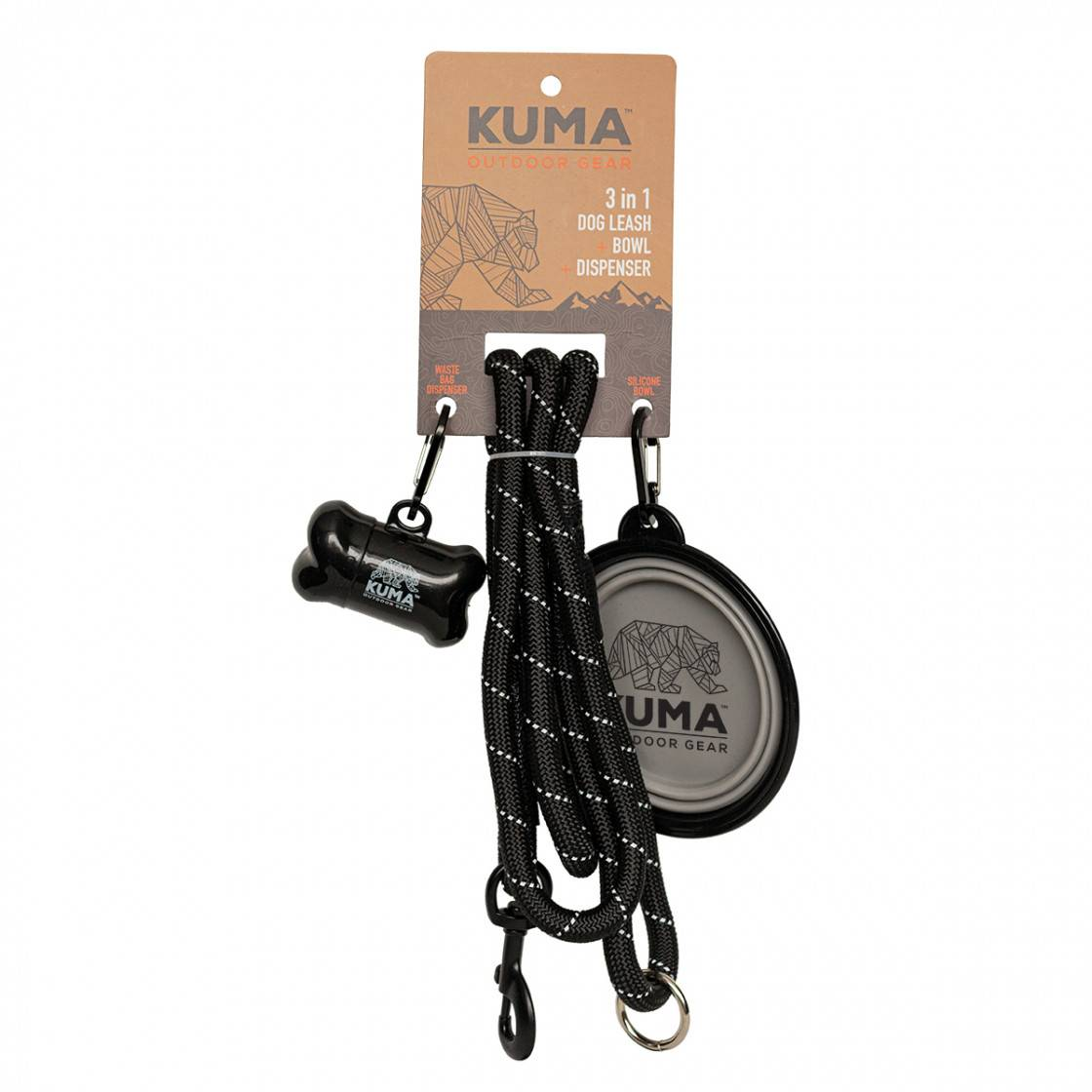 3 in 1 Dog Leash - Black/Grey