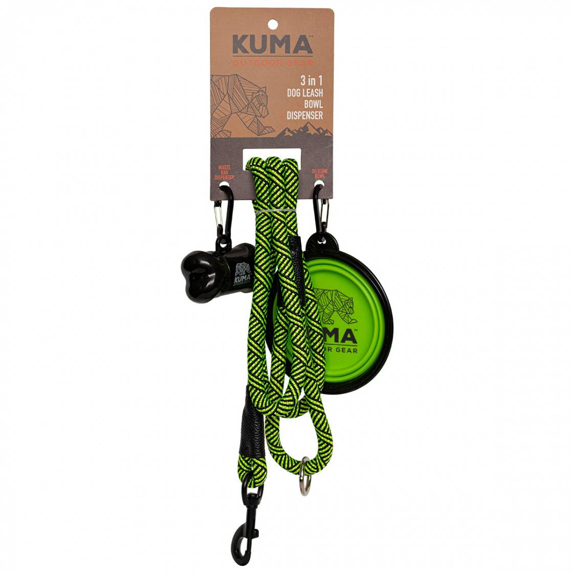 3 in 1 Dog Leash - Lime/Black