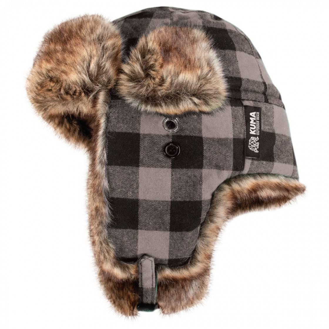 Fur Trapper Cap Grey Plaid