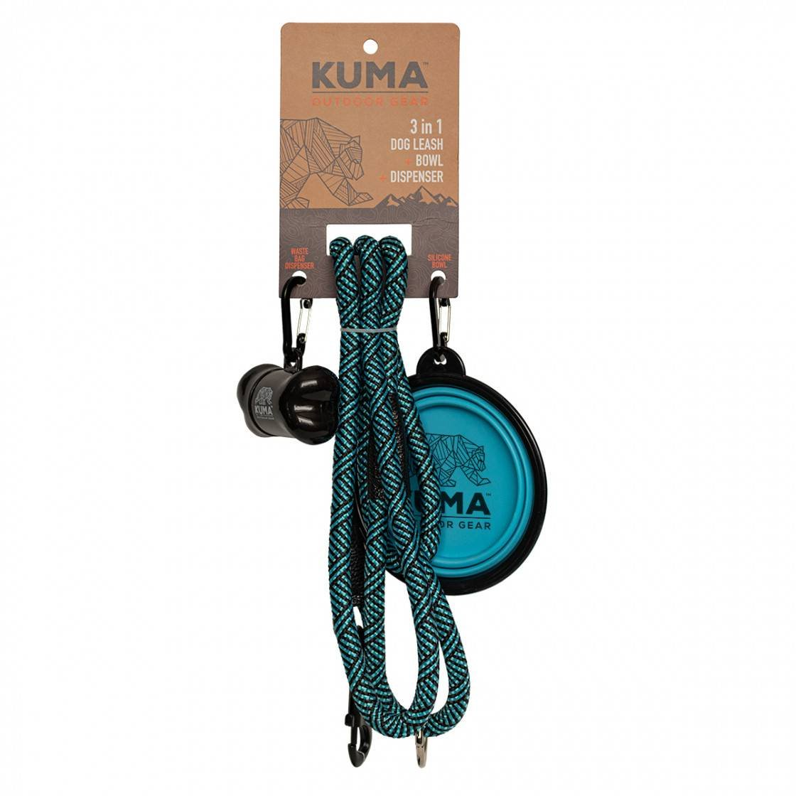 3 in 1 Dog Leash - Aqua/Black